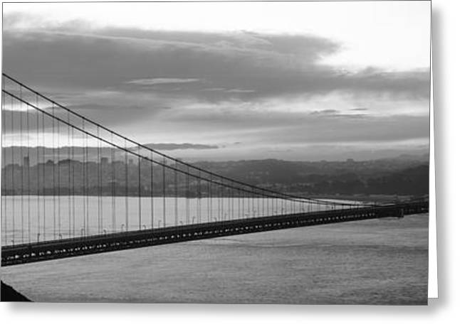 Marin County Greeting Cards - Silhouette Of A Suspension Bridge Greeting Card by Panoramic Images