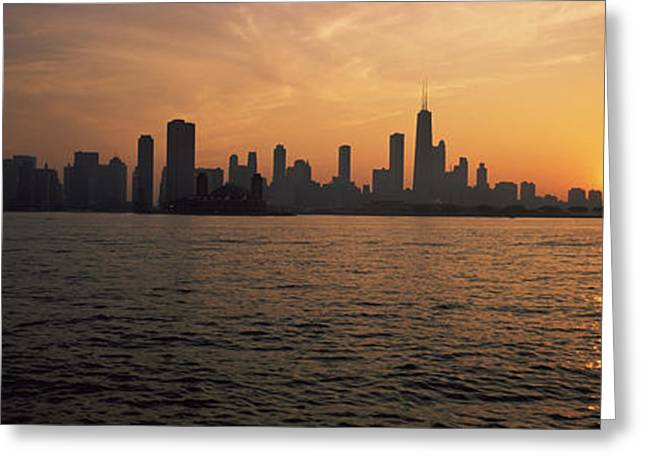 Sailboat Images Greeting Cards - Silhouette Of Buildings Greeting Card by Panoramic Images