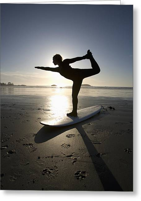 Surf Silhouette Greeting Cards - Silhouette Of Female Surfer Doing Bow Greeting Card by Deddeda