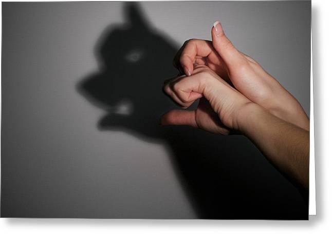 Human Image Greeting Cards - Silhouette Shadow Of Bear Greeting Card by Aleksey Tugolukov
