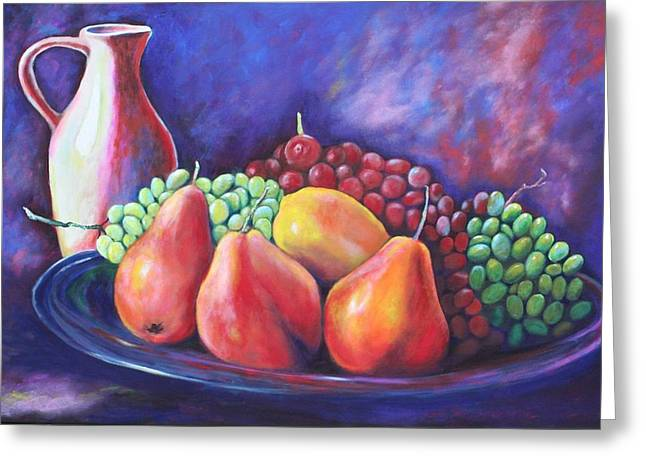 Pottery Pitcher Paintings Greeting Cards - Simple Abundance Greeting Card by Eve  Wheeler