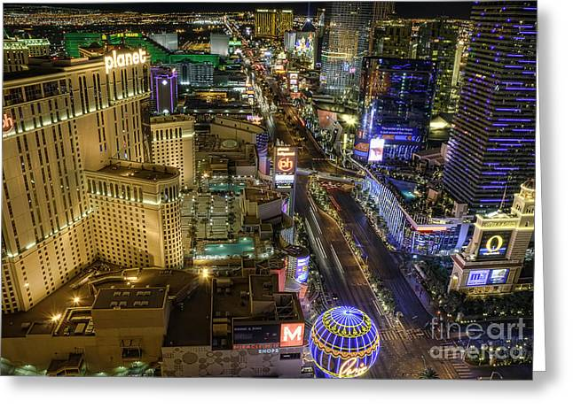 Nightscapes Greeting Cards - Sin City Greeting Card by Eddie Yerkish