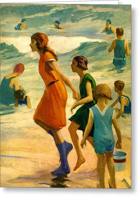 On The Beach Drawings Greeting Cards - 3 Sisters Beach - At the Beach America Greeting Card by Private Collection