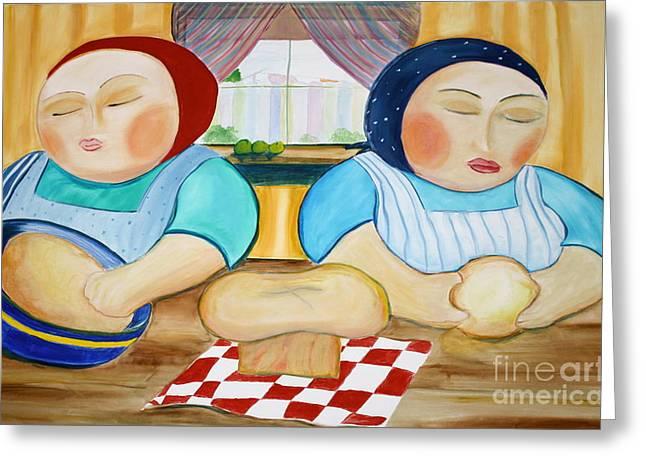 Teresa Hutto Greeting Cards - Sisters Baking Greeting Card by Teresa Hutto