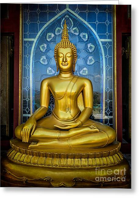 Religious Digital Art Greeting Cards - Sitting Buddha Greeting Card by Adrian Evans