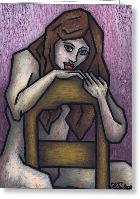 Sitting Pastels Greeting Cards - Sitting Nude Greeting Card by Kamil Swiatek