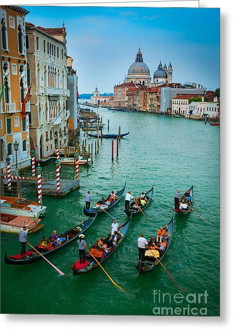 Six Gondolas Greeting Card by Inge Johnsson