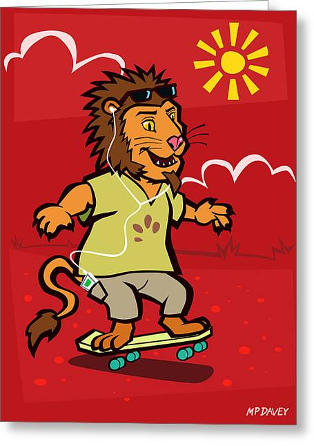 Lion With Ipod Greeting Cards - skateboarding Lion  Greeting Card by Martin Davey