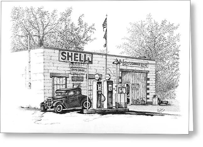 Pen And Ink Framed Prints Greeting Cards - Skips Garage Greeting Card by Linda Pfeifer