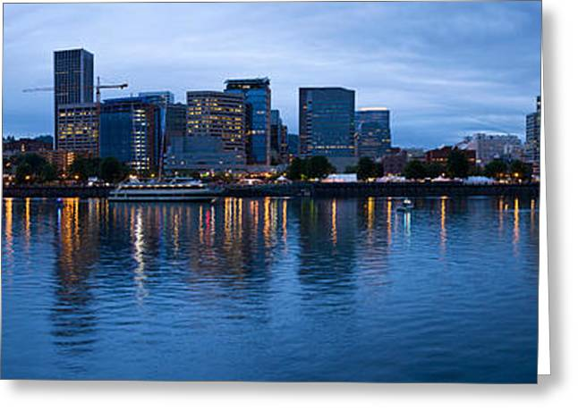 Esplanade Outdoors Greeting Cards - Skyline As Seen From The Vera Katz Greeting Card by Panoramic Images