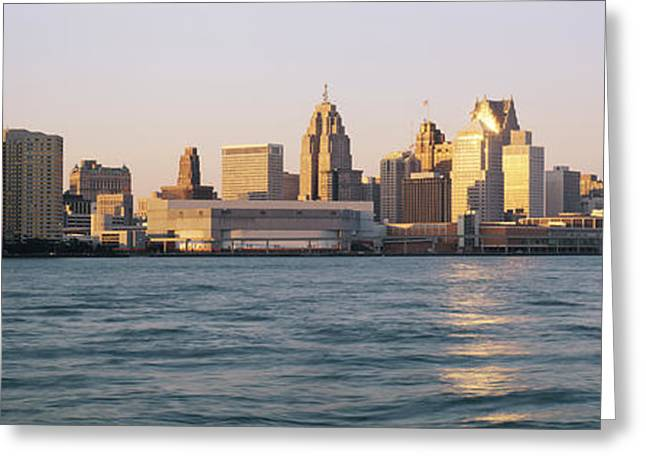 Blue Green Wave Greeting Cards - Skyline Detroit Mi Usa Greeting Card by Panoramic Images
