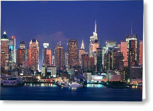 Skylines At Dusk, Manhattan, New York Greeting Card by Panoramic Images