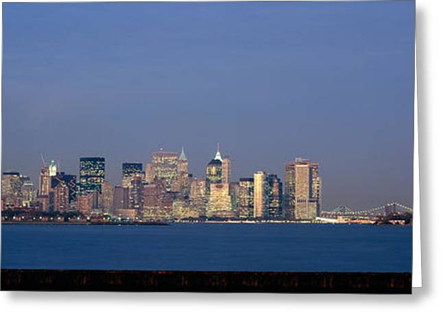 Locations Greeting Cards - Skyscrapers And A Statue Greeting Card by Panoramic Images