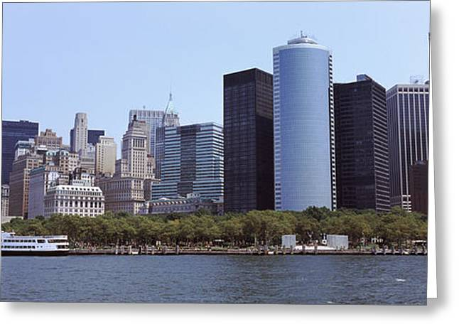 Lower Manhattan Greeting Cards - Skyscrapers At The Waterfront, Lower Greeting Card by Panoramic Images