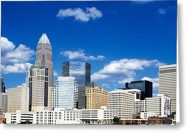 Mecklenburg County Greeting Cards - Skyscrapers In A City, Charlotte Greeting Card by Panoramic Images
