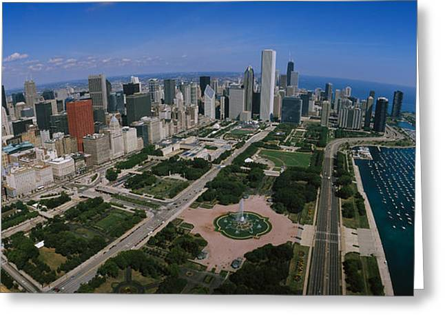 Yacht Club Greeting Cards - Skyscrapers In A City, Chicago Greeting Card by Panoramic Images