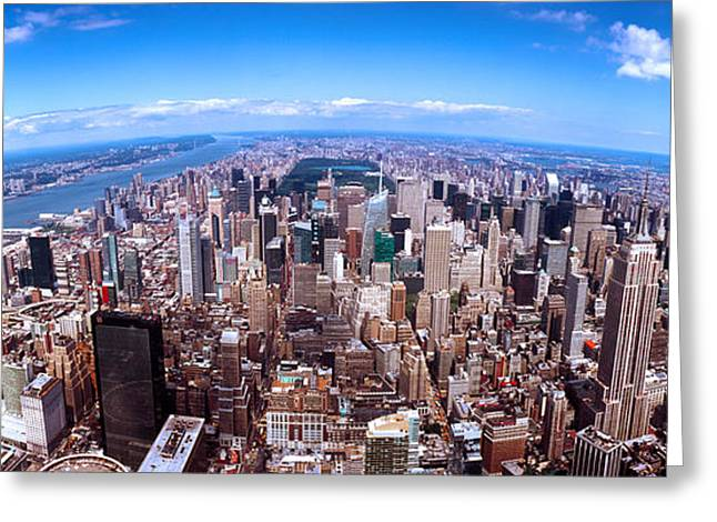 Fish Eye Lens Greeting Cards - Skyscrapers In A City, Manhattan, New Greeting Card by Panoramic Images