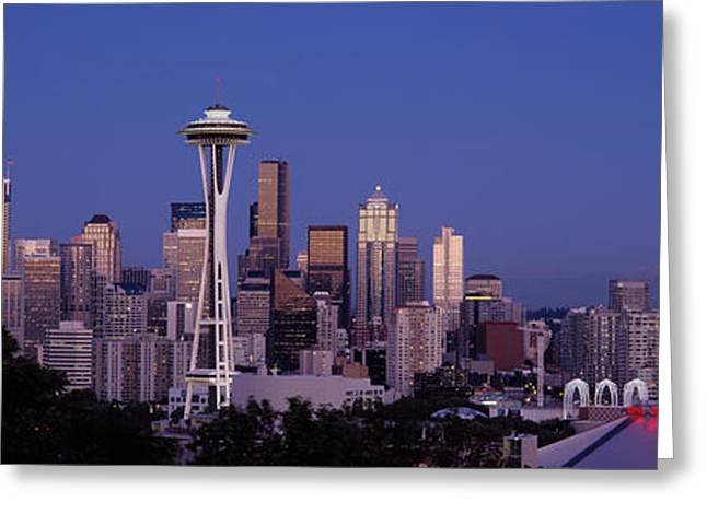 Office Space Photographs Greeting Cards - Skyscrapers In A City, Seattle Greeting Card by Panoramic Images