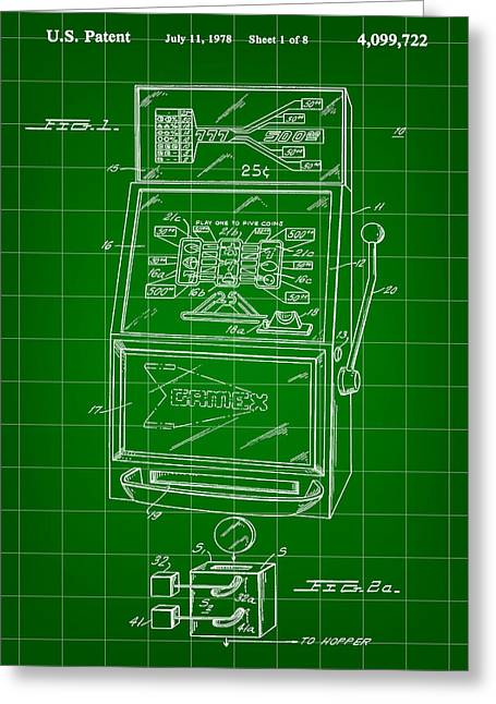 Basement Greeting Cards - Slot Machine Patent 1978 - Green Greeting Card by Stephen Younts
