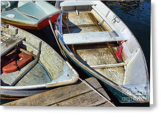 Docked Boats Greeting Cards - Small Boats Greeting Card by Olivier Le Queinec