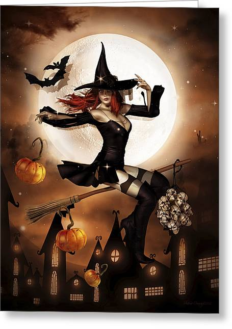 Witch Greeting Cards - Smashing Pumpkins Greeting Card by Shanina Conway