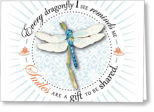 Dragonflies Greeting Cards - Smiles Are A Gift To Be Shared Greeting Card by Amy Kirkpatrick