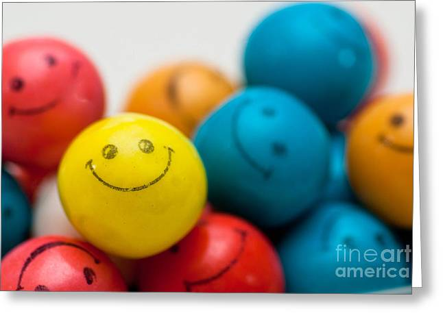 Bubbles Greeting Cards - Smiley Face Gum Balls Greeting Card by Amy Cicconi