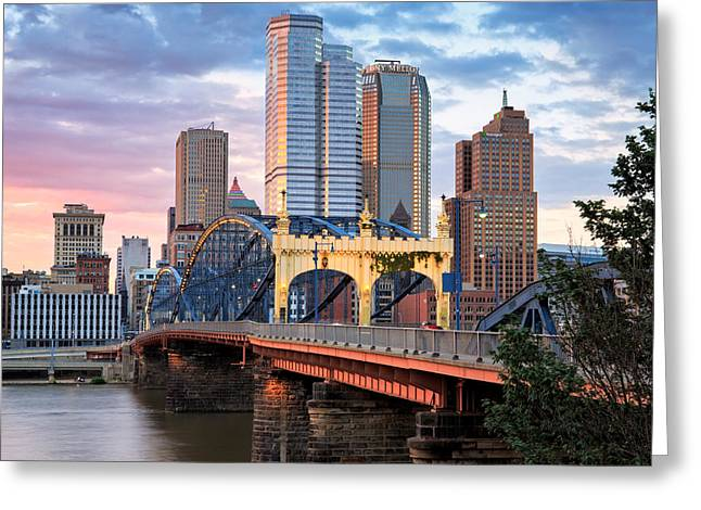 Allegheny River Greeting Cards - Smithfield Street Bridge Greeting Card by Emmanuel Panagiotakis
