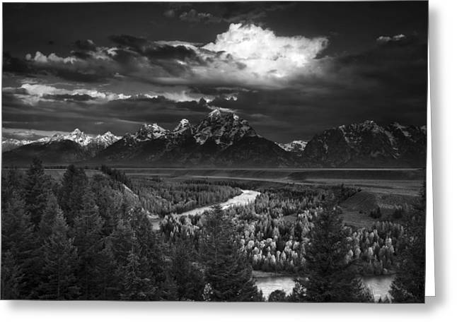 Black And White Nature Landscapes Greeting Cards - Snake River Overlook Greeting Card by Andrew Soundarajan