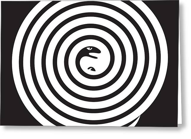 Hiding Drawings Greeting Cards - 2 Snakes Illusion Greeting Card by Igor Kislev