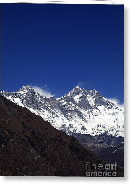 Mt Everest Base Camp Greeting Cards - Snow Capped Mount Everest Himalayas Nepal Greeting Card by Dave Porter