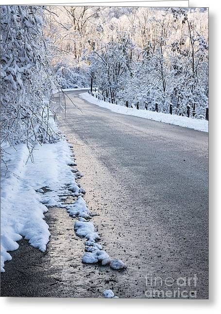 Pink Road Greeting Cards - Snow on winter road Greeting Card by Elena Elisseeva