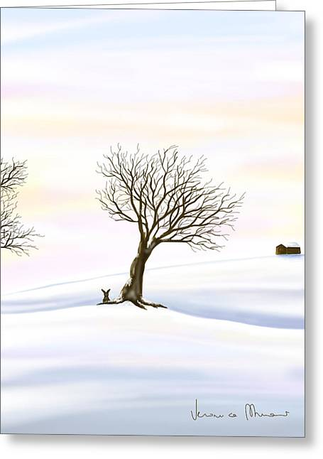 Snow Greeting Card by Veronica Minozzi