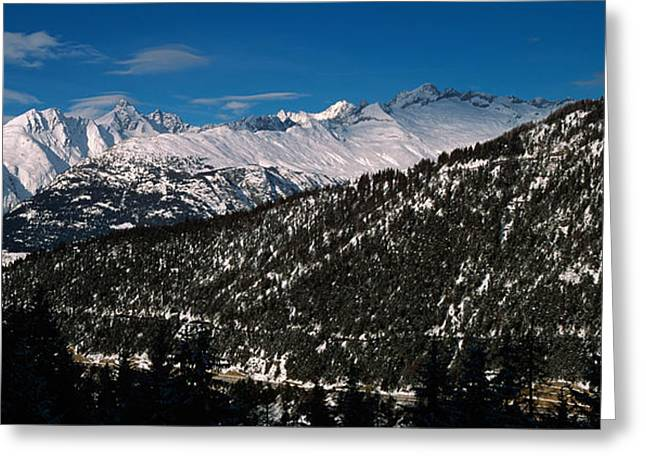Valais Canton Greeting Cards - Snowcapped Mountain Range, Simplon Greeting Card by Panoramic Images