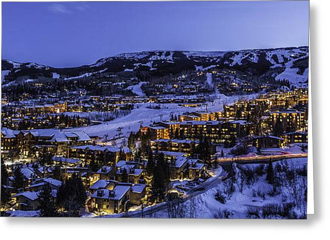 Ski Village Greeting Cards - Snowmass Village Panoramic Greeting Card by Tom Cuccio