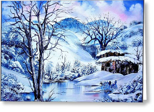 Bob Ross Paintings Greeting Cards - Snowy Day Greeting Card by Shirwan Ahmed