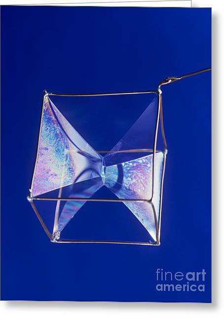 Coat Hanger Greeting Cards - Soap Films On A Cube Greeting Card by Andrew Lambert Photography