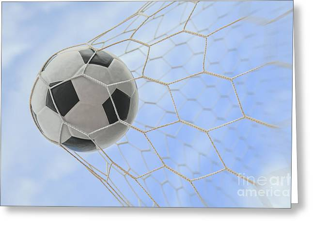 Netting Greeting Cards - Soccer Ball In Goal Greeting Card by Anek Suwannaphoom