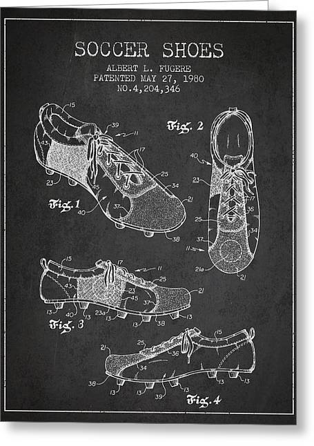 Antique Digital Art Greeting Cards - SoccerShoe Patent from 1980 Greeting Card by Aged Pixel