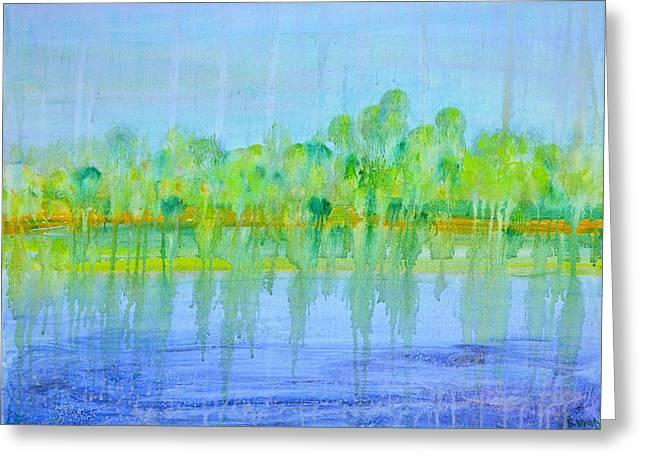 Abstract Realist Landscape Greeting Cards - Soft Rain Greeting Card by Regina Valluzzi