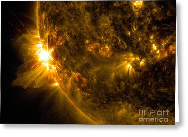 Ejection Greeting Cards - Solar Flare Greeting Card by Science Source