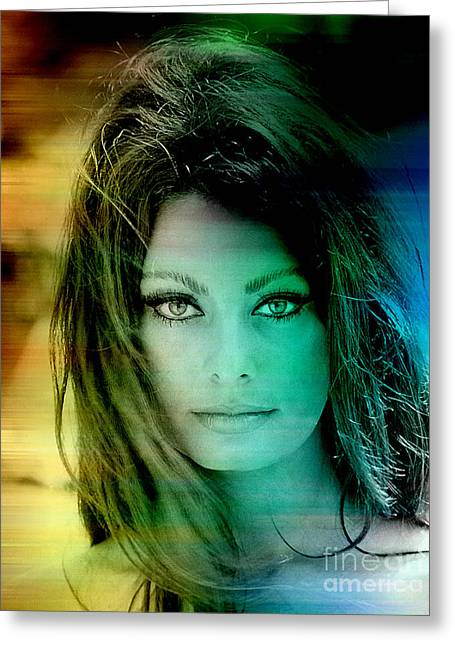 Actor Greeting Cards - Sophia Loren Greeting Card by Marvin Blaine