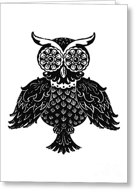 Kyle Mark Wood Greeting Cards - Sophisticated Owls 1 of 4 Greeting Card by Kyle Wood