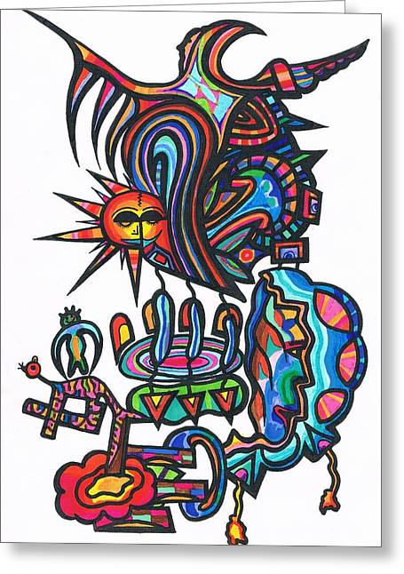 Atlantis Drawings Greeting Cards - Soul Creatues From heaven Greeting Card by Robert Prins