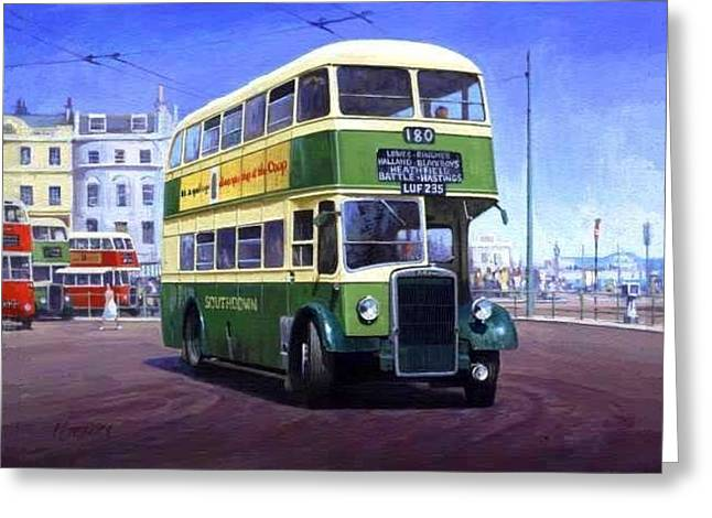 Classic Bus Greeting Cards - Southdown Leyland. Greeting Card by Mike  Jeffries