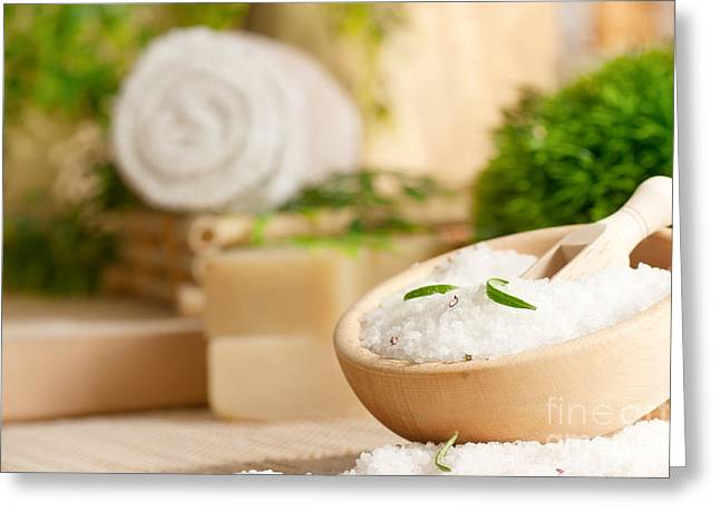 Wooden Bowl Greeting Cards - Spa setting with bath salt Greeting Card by Mythja  Photography