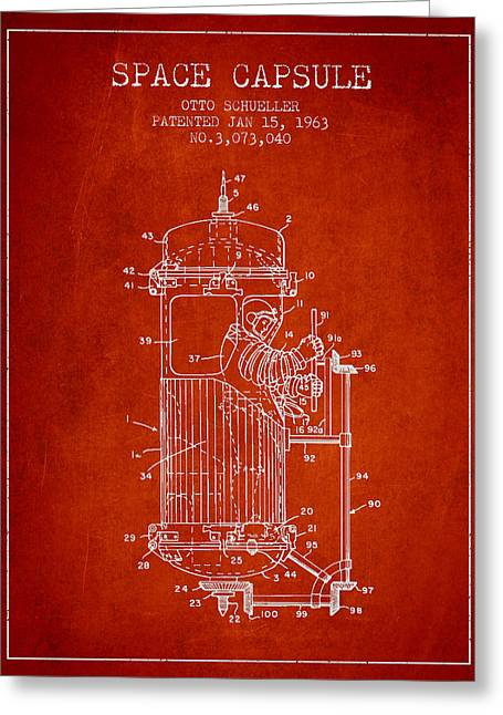 Capsule Greeting Cards - Space Capsule Patent from 1963 Greeting Card by Aged Pixel