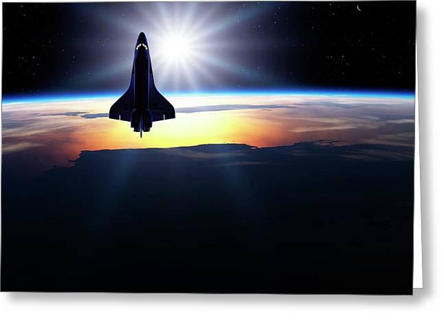 Space Shuttle In Orbit Greeting Card by Detlev Van Ravenswaay