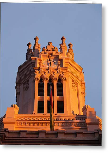 Spain, Madrid, Plaza De La Cibeles Greeting Card by Walter Bibikow