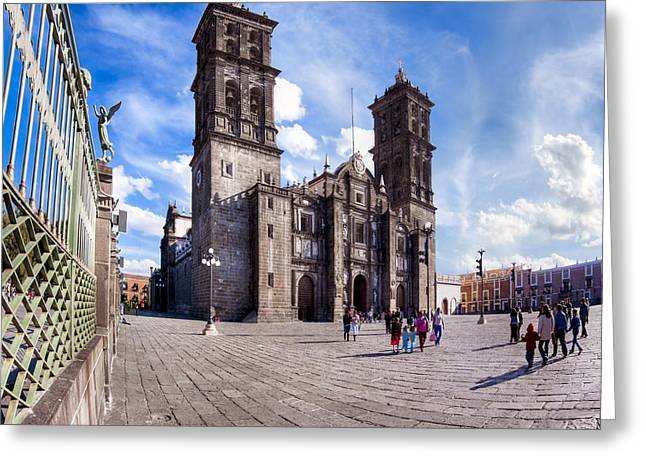 Puebla Greeting Cards - Historic Spanish Colonial Cathedral of Puebla Mexico Greeting Card by Mark Tisdale